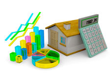 Home Finances Concept - 3D. Home, graph and calculator on white background Stock Photography