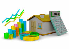 Home Finances Concept - 3D. Home, graph and calculator on white background Royalty Free Stock Images