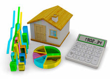 Home Finances Concept - 3D. Home, graph and calculator on white background Royalty Free Stock Photos