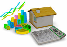 Home Finances Concept - 3D. Home Finances Concept on white background Royalty Free Stock Photo
