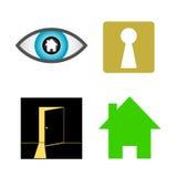Home finder  icon design. Home finder  logo design. Real estate searching  icon set. Logotype symbols. Logo icon design Stock Images