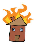 Home fire. House fire doodle. Tragic disaster - insurance claim concept. Simple child-like illustration Royalty Free Stock Image
