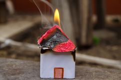 Home on Fire House Model, risk or property Insurance Protection Stock Image