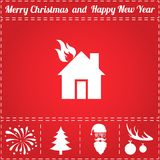 Home fire Icon Vector. And bonus symbol for New Year - Santa Claus, Christmas Tree, Firework, Balls on deer antlers Royalty Free Stock Photography