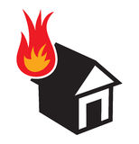 Home fire icon. Vector illustration of the home fire icon Royalty Free Stock Images
