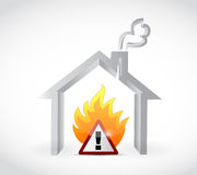 Home fire warning sign illustration design. Over a white background Stock Photo