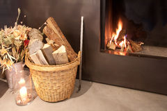 Home fireplace. A home fireplace for cold days Royalty Free Stock Photography