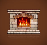 Home fireplace. Christmas hearth with fire. Stone bricks home fireplace. Christmas hearth with burning fire for house heating. Warm vector illustration Royalty Free Stock Photography