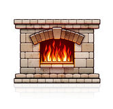 Home fireplace. Christmas hearth with fire. Stone bricks home fireplace. Christmas hearth with burning fire for house heating. Warm vector illustration. Isolated Royalty Free Stock Image