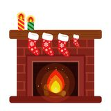Home fireplace, decorated with Christmas stockings and candles for the new year. Style cartoon Royalty Free Stock Images