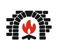 Home fireplace icon Stock Photo