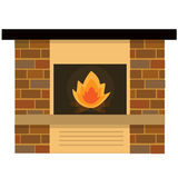 Home fireplaces with fire. Insulated fireplace on white background Stock Photo