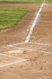 Home and First. Vertical image of home plate and first base on a baseball field Royalty Free Stock Photos