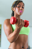 Home Fitness Black Woman Training Biceps With Weights Stock Images