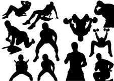 Home Fitness Silhouettes Stock Images