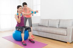 Home fitness tutor woman teaching her student