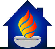 Home flame logo. Illustration art of a home flame logo with isolated background Royalty Free Stock Photo
