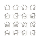 Home flat icon. Home icon set. Collection of house line icons. 16 high quality logo of home button on white background. Pack of symbols for design website stock illustration