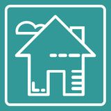 Home flat icon outline vector illustration