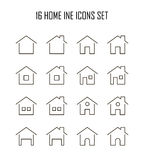 Home flat icon. Home icon set. Collection of house line icons. 16 high quality logo of home button on white background. Pack of symbols for design website royalty free illustration