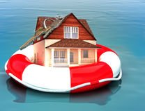 Home floating on a life preserver. royalty free illustration