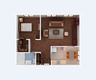 Home floor plan. Housing project 3d blueprint. Home apartment floor plan. Hall, living, bedroom , wardrobe, bathroom, dining, nook, kitchen with furniture top royalty free illustration