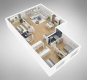 Home floor plan top view 3D illustration. Open concept living apartment layout vector illustration