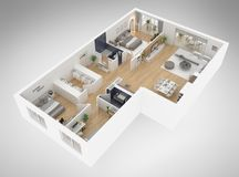 Home floor plan top view 3D illustration. Open concept living apartment layout royalty free illustration