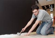 Home flooring works Stock Images