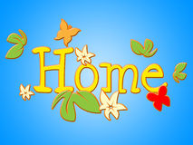 Home Flowers Indicates Household Florist And Residence Stock Photography