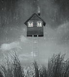 The home flying. Beautiful surreal artistic image that represent an house flying in the sky with stairs grass and sky in black and white royalty free illustration