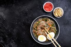 Home food Asia, Vietnam, egg noodle soup, colorful food ingredient for this food such as egg, beef, broth, ginger, soy sauce, stock photos