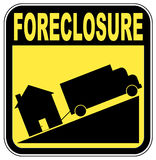 Home foreclosure. Foreclosure sign with truck towing house - crashing house market concept Royalty Free Stock Photography