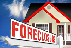 Home foreclosure sign. Foreclosure sign outside modern house of home with cloudscape background Royalty Free Stock Images