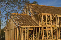 Home Framing. A close-up look at the construction and all wood framing process of this new home stock images