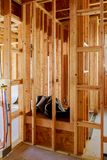 Home Framing unfinished wood frame building or a house royalty free stock photo
