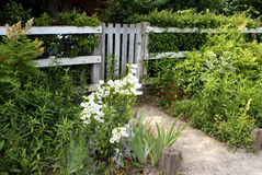 Home in the french countryside. Gated fence surrounded by flowers Royalty Free Stock Photography