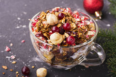 Home fresh crunchy granola with hazelnuts, dried cranberries, Christmas candy stick Santa Claus, in a transparent cup Royalty Free Stock Photography