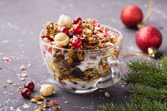 Home fresh crunchy granola with hazelnuts, dried cranberries, Christmas candy stick Santa Claus, in a transparent cup Stock Images