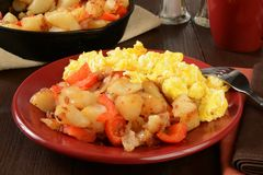 Home fries and scrambled eggs Stock Photography