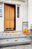 Home front door at Halloween Royalty Free Stock Photos
