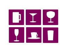 Home furnishing glass icons. Vector icon and button set for home furnishing related to glasses for different use as beer, cocktail, wine, champagne, coffee and Royalty Free Stock Photos