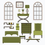 Home furniture and accessories in color green Stock Photography