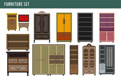 Home furniture cabinet bookcase lockers, wardrobe cupboard and drawer chest vector icons Royalty Free Stock Photo
