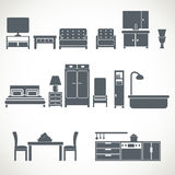 Home furniture design blackicons set Stock Photography