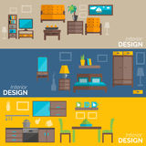 Home furniture design flat banners set. Home interior design for kitchen bed and sitting rooms furnishing flat banners set abstract isolated vector illustration Stock Image