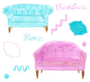 Home furniture. Hand drawn set with sofa or divan Stock Images