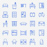 Home Furniture Icon set. 25 Icons vector illustration