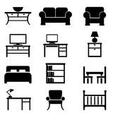 Home furniture icons. Home furniture icon set in black Royalty Free Stock Image