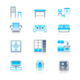 Home furniture icons | MARINE series Stock Image